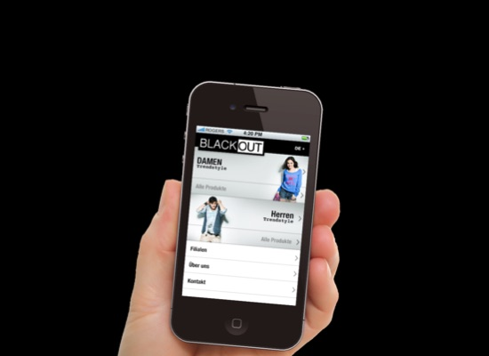 BLACKOUT AG Webseite, Onlineshop, Mobile App & Intranet