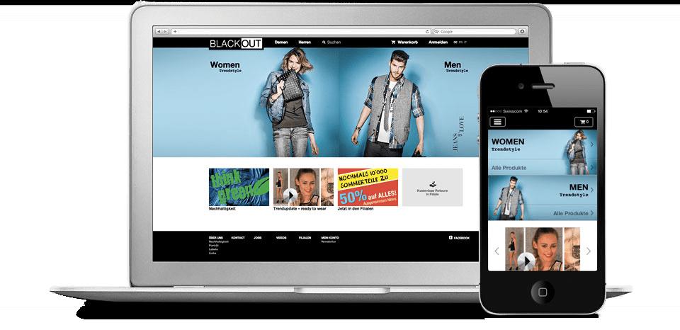 Webshop für Desktop- und Mobile-Geräte