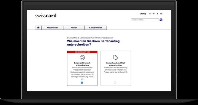 Frontend der swisscardEnd-2-End Digitalisierung