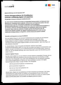 Swisscard Medienmitteilung Digital Onboarding vom 20.12.2017
