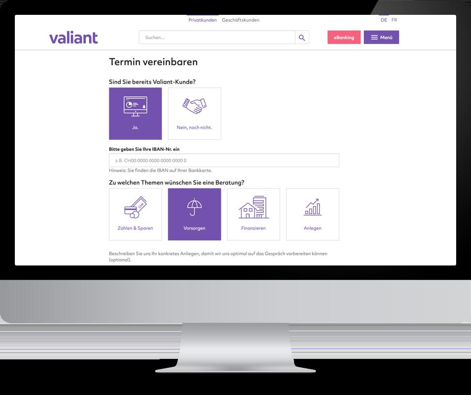 Valiant Digitale Terminvereinbarung
