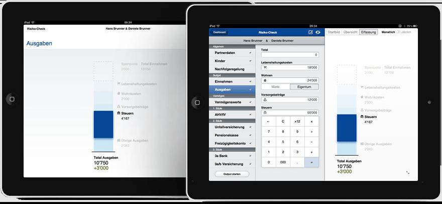 Berechnungen in Echtzeit auf dem Kunden-iPad